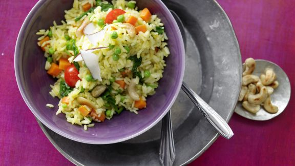 Rezept: Indische Reis-Gemüse-Pfanne