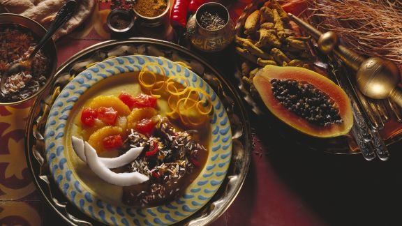 Rezept: Indischer Enteneintopf mit Chutney aus Papaya