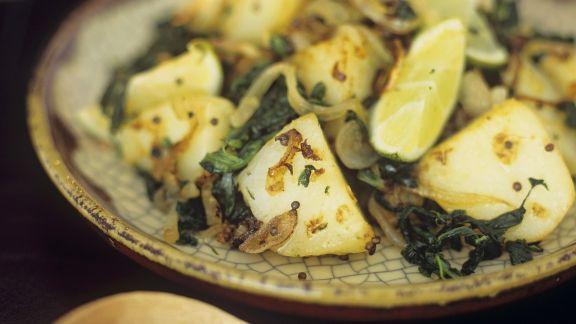 Rezept: Indisches Kartoffel-Curry mit Spinat (Saag aloo)