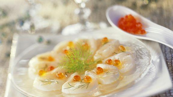 Rezept: Jakobsmuschelcarpaccio mit Kaviar