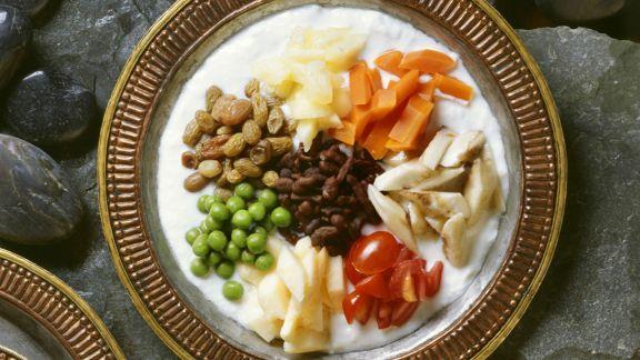 Rezept: Joghurtsalat mit Gemüse und Ginseng auf tibetische Art