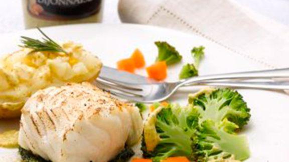 Rezept: Kabeljau an Gemüse und Ofenkartoffeln