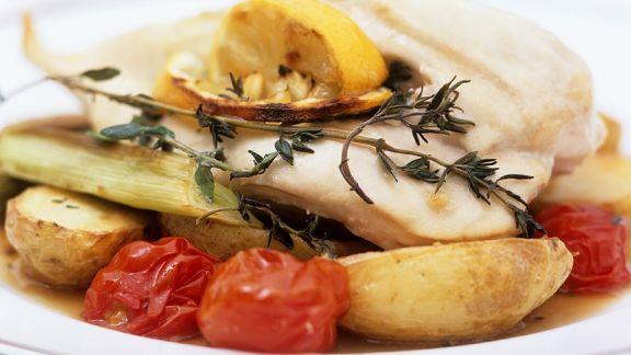 Rezept: Kabeljau auf Gemüse