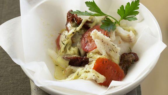 Rezept: Kabeljaufilet mit Tomaten und Mozzarella