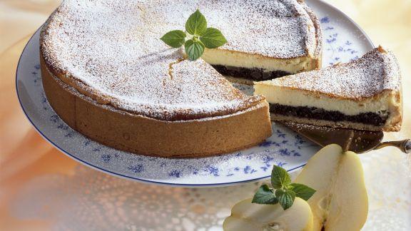 Rezept: Käse-Mohn-Kuchen mit Birnen