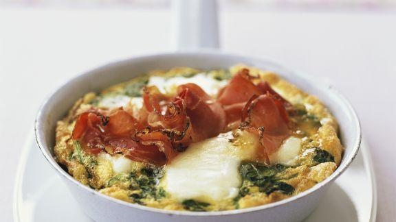 Rezept: Käse-Spinat-Omelett mit Schinken