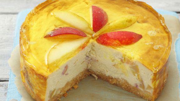 Rezept: Käsekuchen mit Birne und Pfirsich