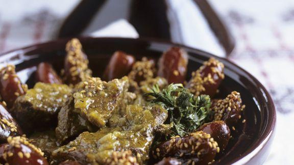 Rezept: Kalbsfleisch-Tajine mit Datteln und Sesam