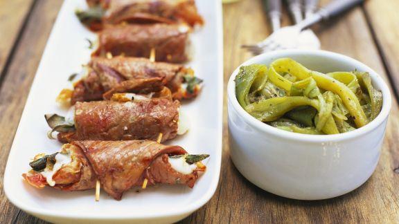 Rezept: Kalbsfleischröllchen mit Mozzarellafüllung
