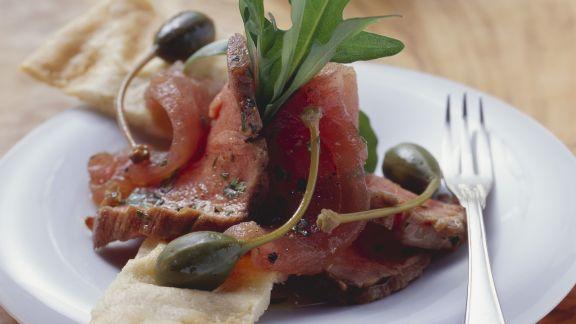 Rezept: Kalbsrücken mit rohem Thunfisch