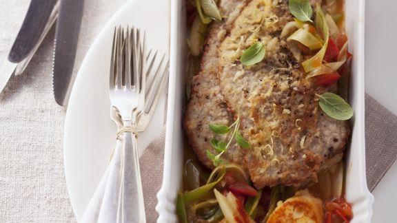 Rezept: Kalbsschnitzel mit Grießschnitten und Gemüse
