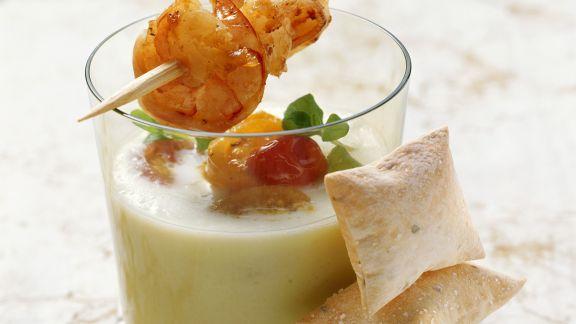 Rezept: Kalte Melonensuppe mit Shrimps