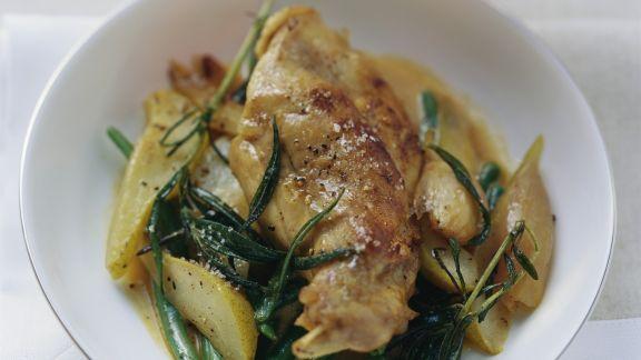Rezept: Kaninchenschlegel mit Birnen und grünen Bohnen