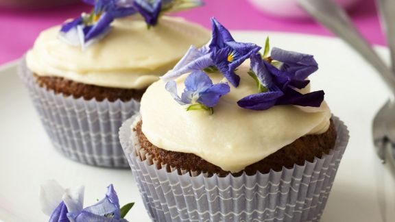 Rezept: Karotten-Cupcakes mit Blüten