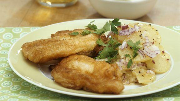 Rezept: Karpfen im Bierteig mit Kartoffelsalat