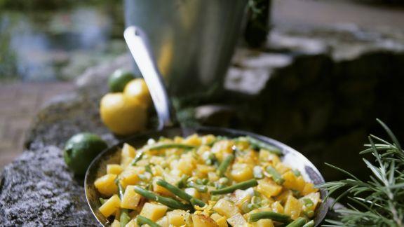 Rezept: Kartoffel-Bohnen-Pfanne mit Zitrone