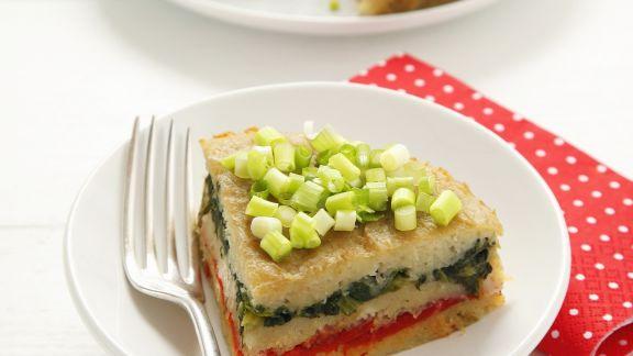 Rezept: Kartoffel-Gemüse-Kuchen mit Lauchzwiebeln