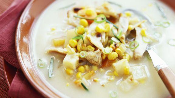 Rezept: Kartoffel-Mais-Suppe mit Hähnchen