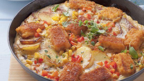 Rezept: Kartoffel-Mais-Tortilla und Beilagensalat