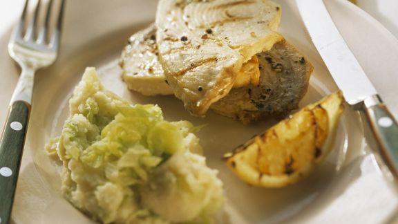 Rezept: Kartoffel-Porree-Püree und Schwertfisch