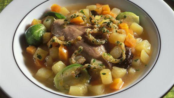 Rezept: Kartoffel-Rosenkohl-Eintopf mit Ente