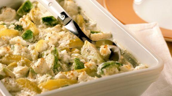 Rezept: Kartoffel-Rosenkohl-Gratin mit Ziegenkäse