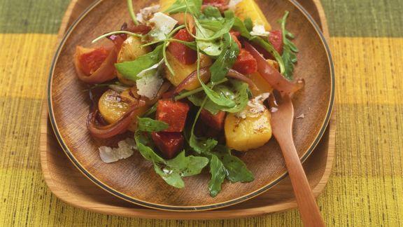 Rezept: Kartoffel-Rucola-Salat mit scharfer spanischer Wurst (Chorizo)