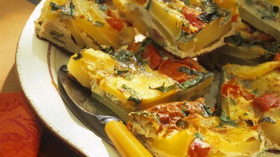 Rezept: Kartoffel-Tortilla mit Spinat und Paprika