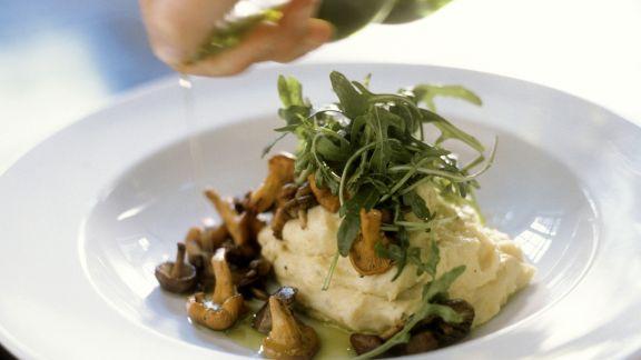 Rezept: Kartoffelbrei mit Pilzen und Rucola