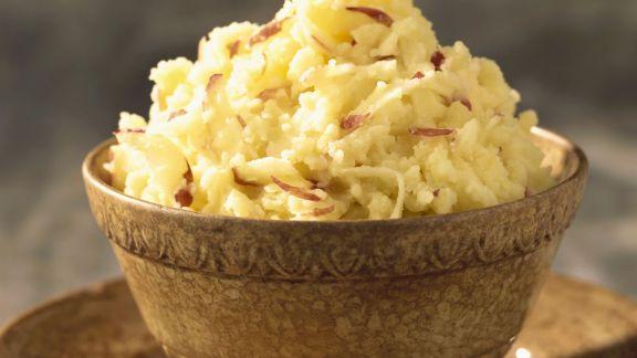 Rezept: Kartoffelbrei mit roten Zwiebeln