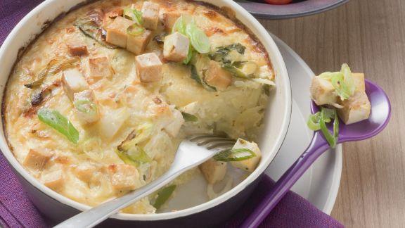 Rezept: Kartoffelgratin mit geräuchertem Tofu