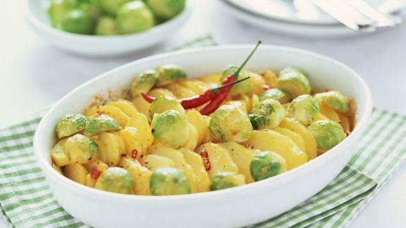 Rezept: Kartoffelgratin mit Rosenkohl