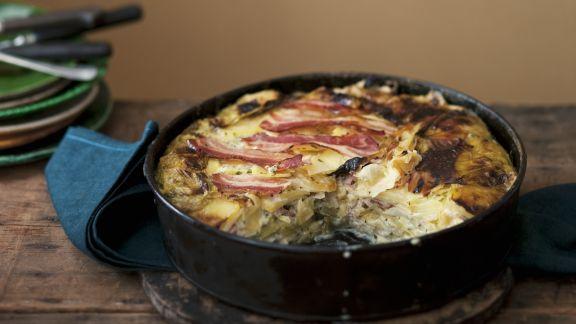 Rezept: Kartoffelgratin mit Speck und Spitzkohl
