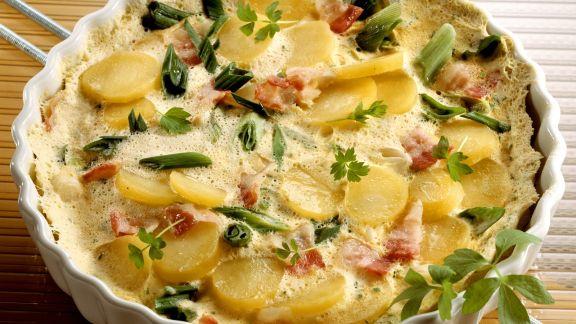 Rezept: Kartoffelkuchen mit Schinken und Lauch