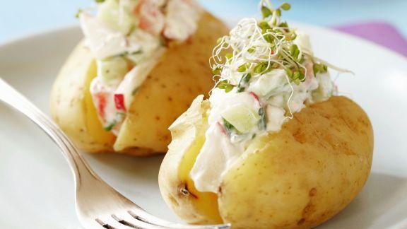 Rezept: Kartoffeln mit Gemüsequark und frischen Sprossen
