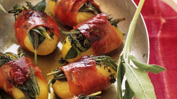 Rezept: Kartoffeln mit Kräuter-Schinken-Wickel