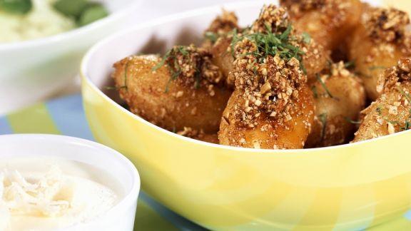 Rezept: Kartoffeln mit Nusskruste dazu Meerrettichdip