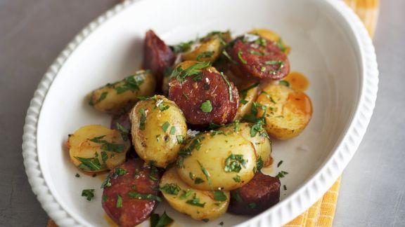 Rezept: Kartoffeln mit scharfer spanischer Wurst (Chorizo)