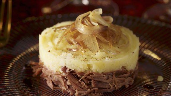 Rezept: Kartoffelpüree nach Parmentier-Art mit Ente und Zwiebeln