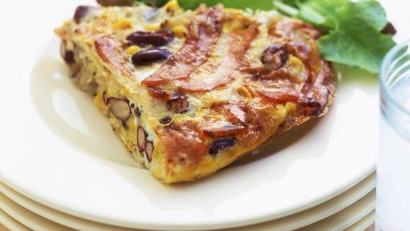 Rezept: Kartoffeltortilla mit Kidneybohnen und Schinken
