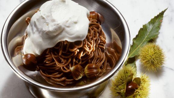 Rezept: Kastaniencreme mit Sahne (Monte Bianco)