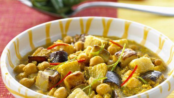 Rezept: Kichererbsencurry mit Auberginen
