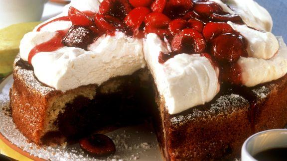 Rezept: Kirschkuchen mit Quark-Topping