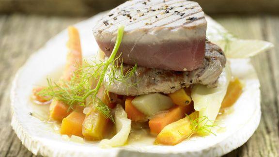 Rezept: Kleine Kalbsrückensteaks und Thunfisch