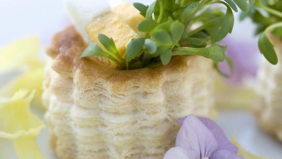 Rezept: Kleine Pasteten mit Eiern und Kresse