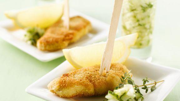 Rezept: Kleine Schnitzel mit Gurken-Dip