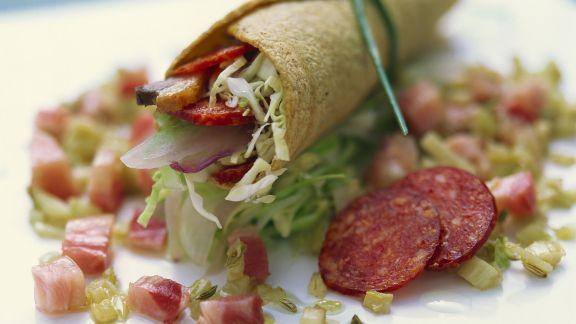 Rezept: Kleine Tortillarolle mit Entenbrust und Salami