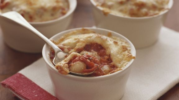 Rezept: Kleines Nudel-Tomaten-Gratin
