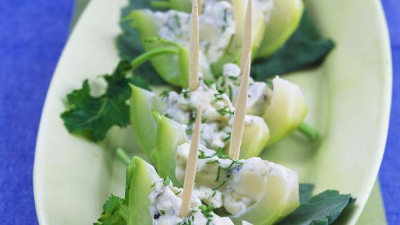 Rezept: Kohlrabi mit pikanter Käsecreme
