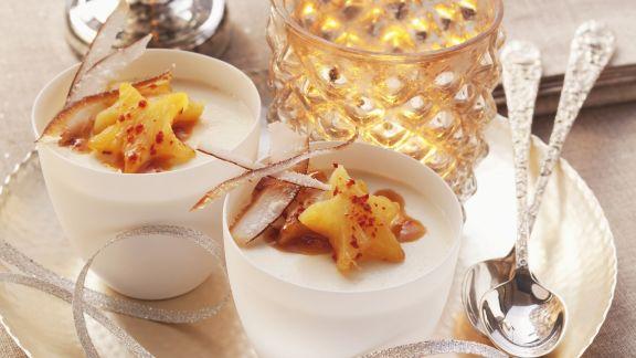 Rezept: Kokoscreme mit Karamell-Ananas